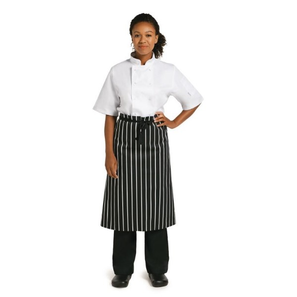 WHITES BUTCHERS STRIPE WAIST APRON BLACK