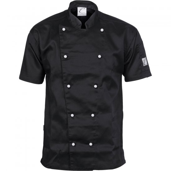 TRADITIONAL CHEF JACKET SHORT SLEEVE BLACK (Size: XS - 4XL)