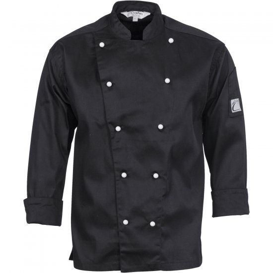 TRADITIONAL CHEF JACKET LONG SLEEVE BLACK (Size: XS - 4XL)