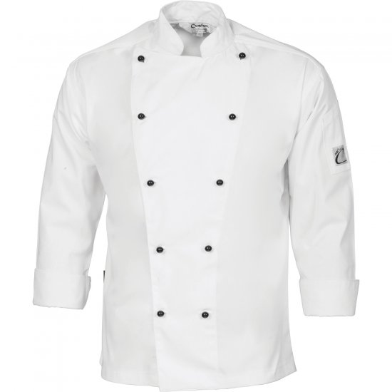 3 WAY AIR FLOW CHEF JACKET LONG SLEEVE WHITE - Sizes: XS - 4XL